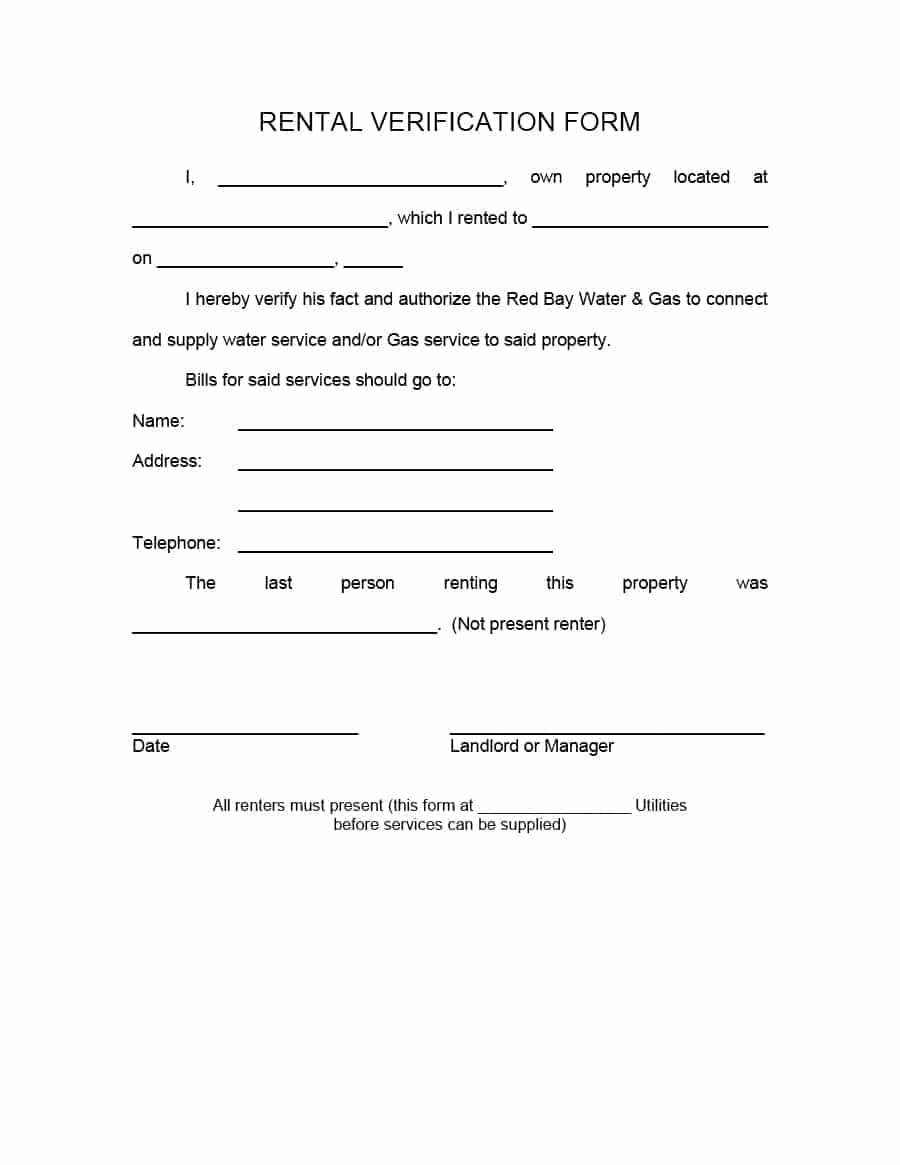 29 Rental Verification Forms (for Landlord or Tenant)   Template