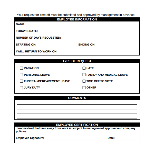 Time Off Request Form Template Microsoft | charlotte clergy coalition