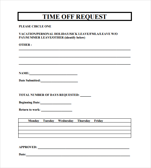 24 Time Off Request Forms to Download | Sample Templates