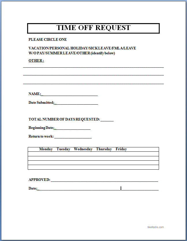 Time off Request Form Template Word   94xRocks