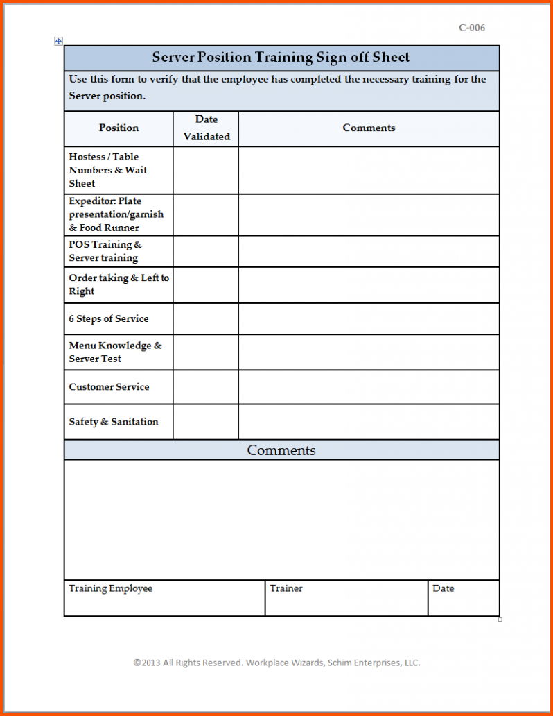 training sign off sheet templates