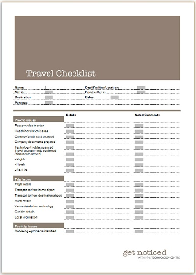 Travel Checklist   Business Templates   Executive PA and Secretarial