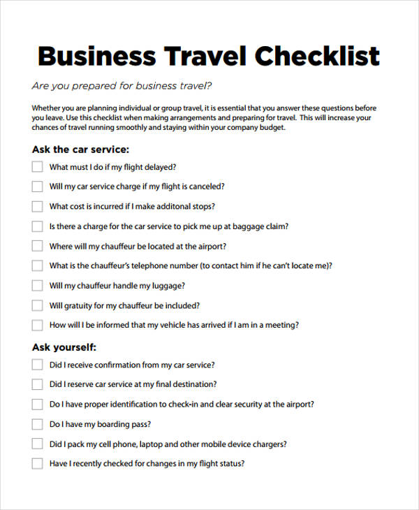 Travel Checklist Templates   11 Free Samples, Examples Format