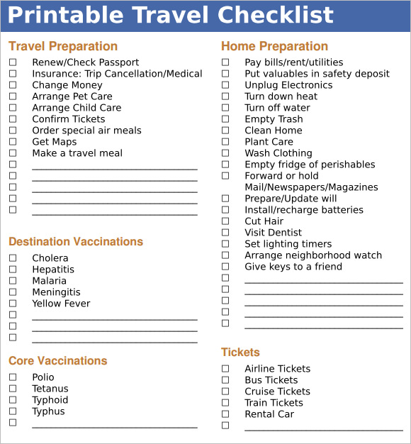 Travel checklist template charlotte clergy coalition travel to do list template aprilonthemarch maxwellsz