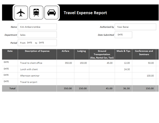 Travel Expense Templates | charlotte clergy coalition