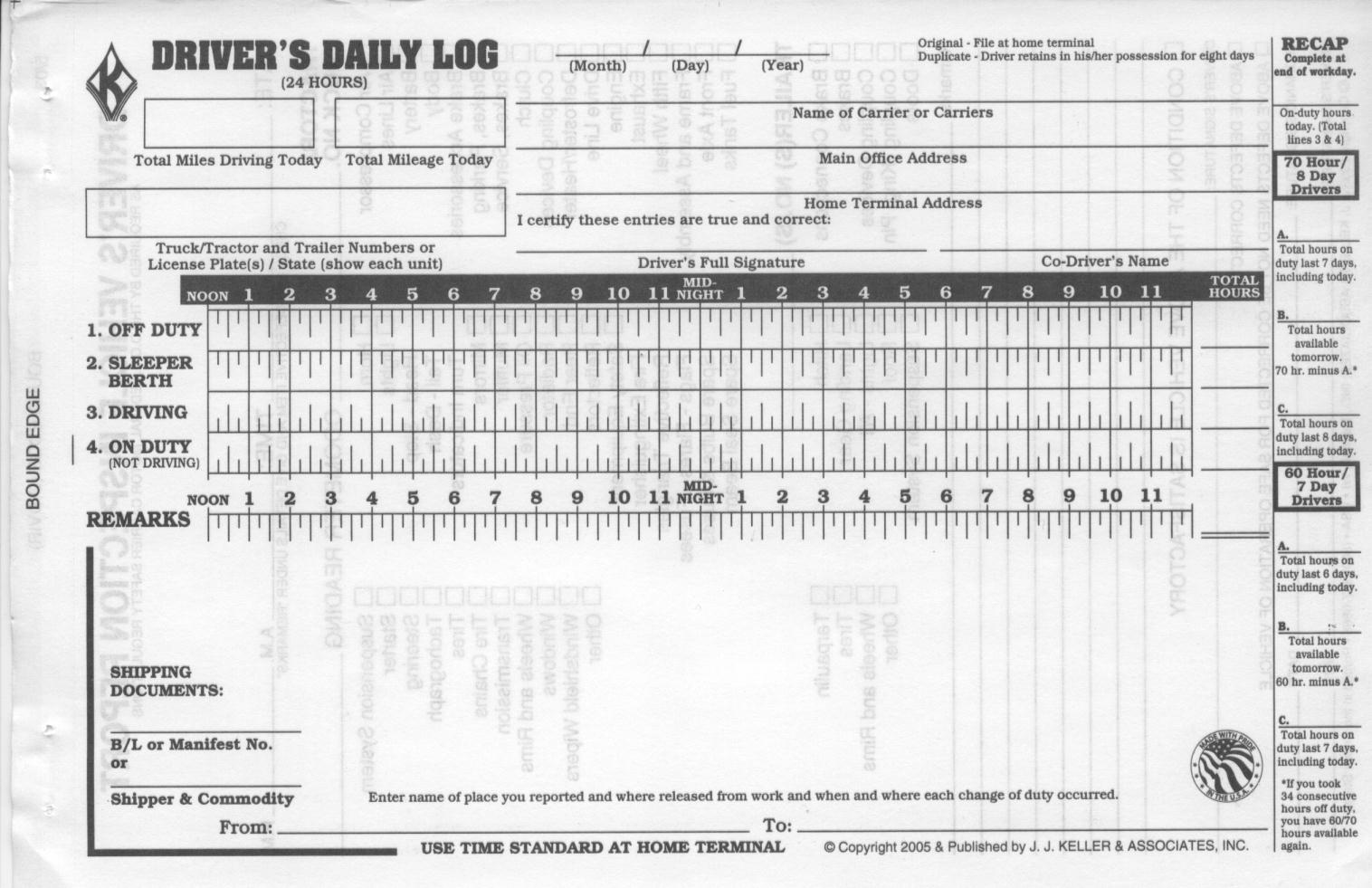 truck driver log book template