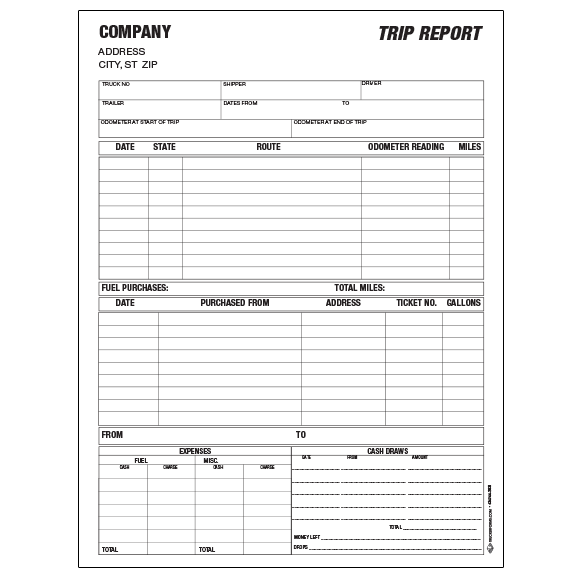 Truck Driver Trip Report Template | charlotte clergy coalition
