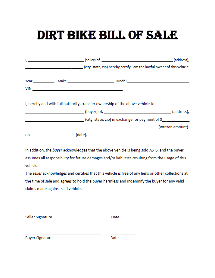All Terrain Vehicle (ATV) Bill of Sale Form | eForms – Free