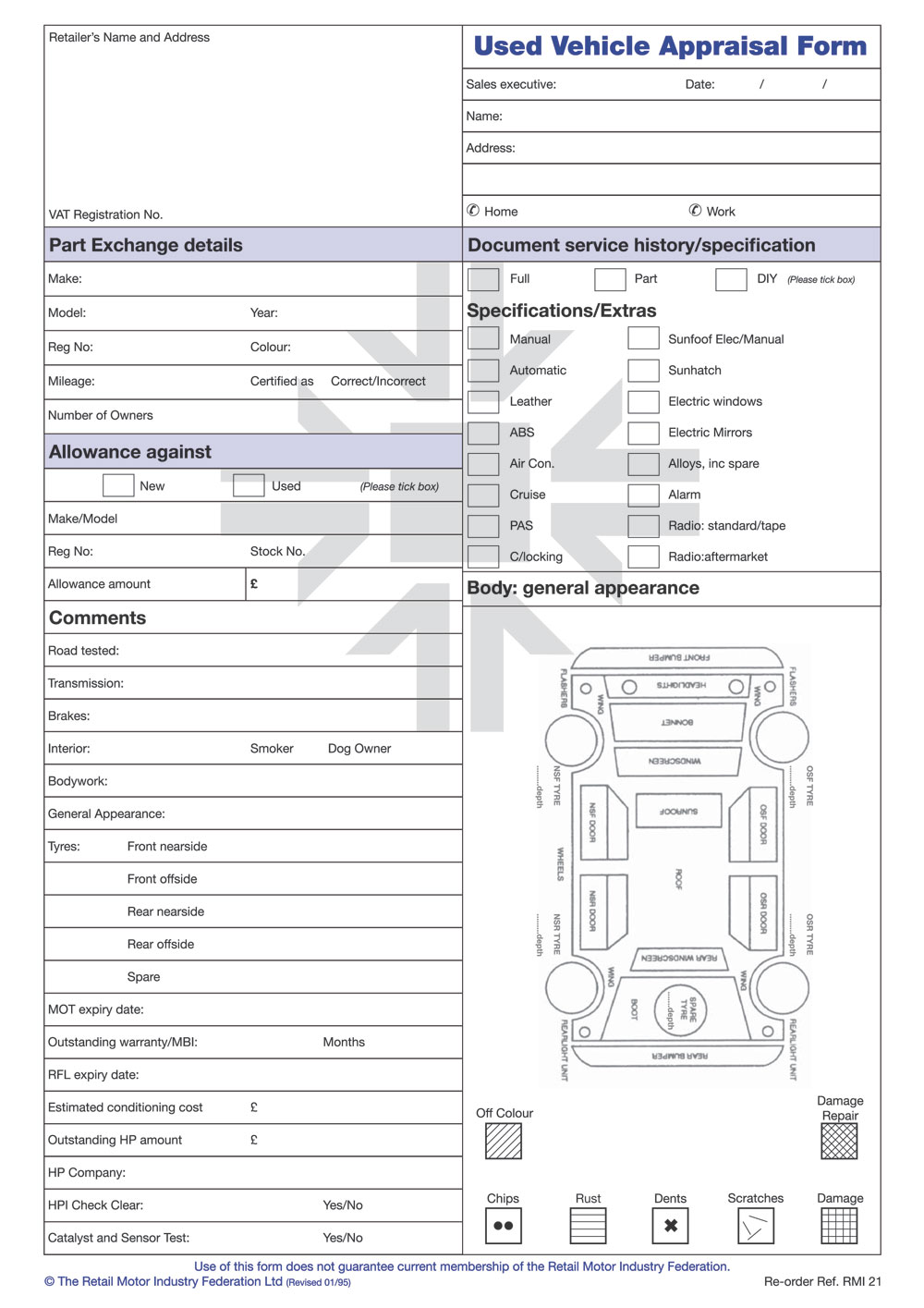 RMI021   Used Vehicle Appraisal Form Pad   RMI Webshop