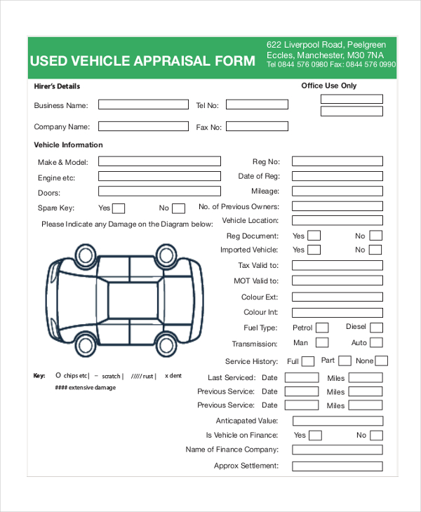 7+ Sample Vehicle Appraisal Forms   Sample, Example, Format
