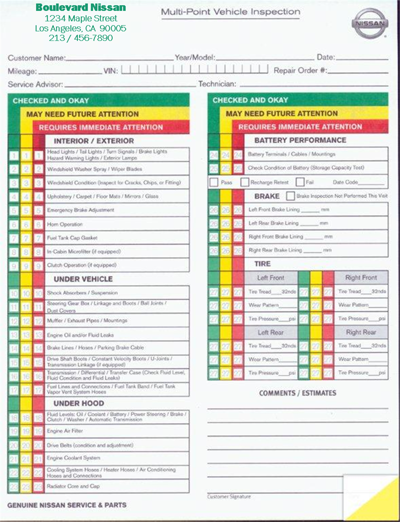 Vehicle Inspection Sheet Template | charlotte clergy coalition