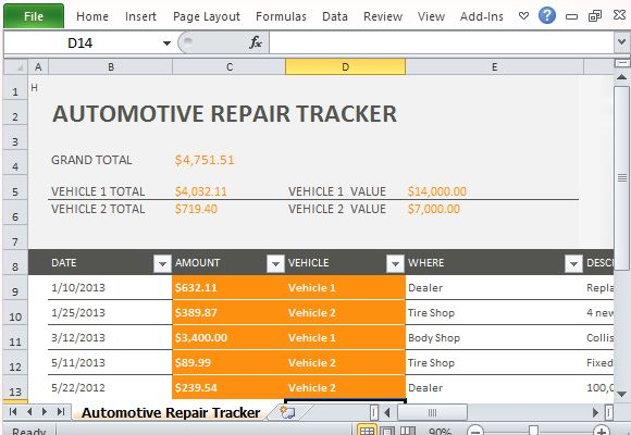 Vehicle Maintenance Log Template for Excel® (Monthly)   Dotxes