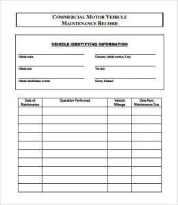 vehicle maintenance log template charlotte clergy coalition