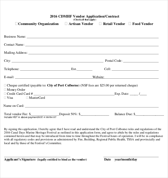 9+ Sample Vendor Registration Forms | Sample Templates
