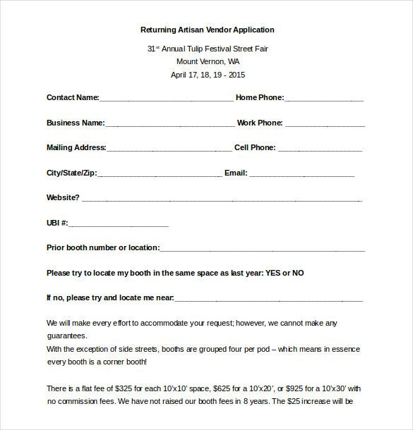vendor registration form template vendor application template 12