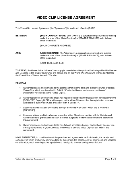 video agreement template copyright license agreement template