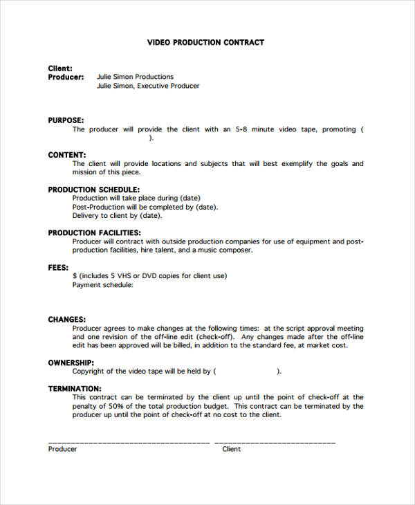video production agreement template production contract templates