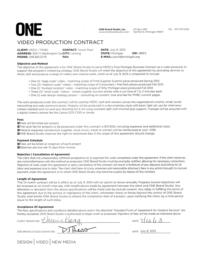 production services agreement template video production contract 6