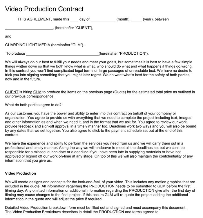 Video Production Contract   6+ Printable Contract Samples