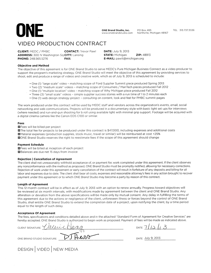 Video Production Contract Template Charlotte Clergy Coalition