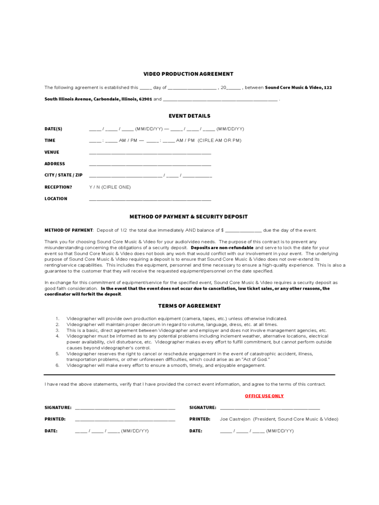 Video Production Contract   6 Free Templates in PDF, Word, Excel