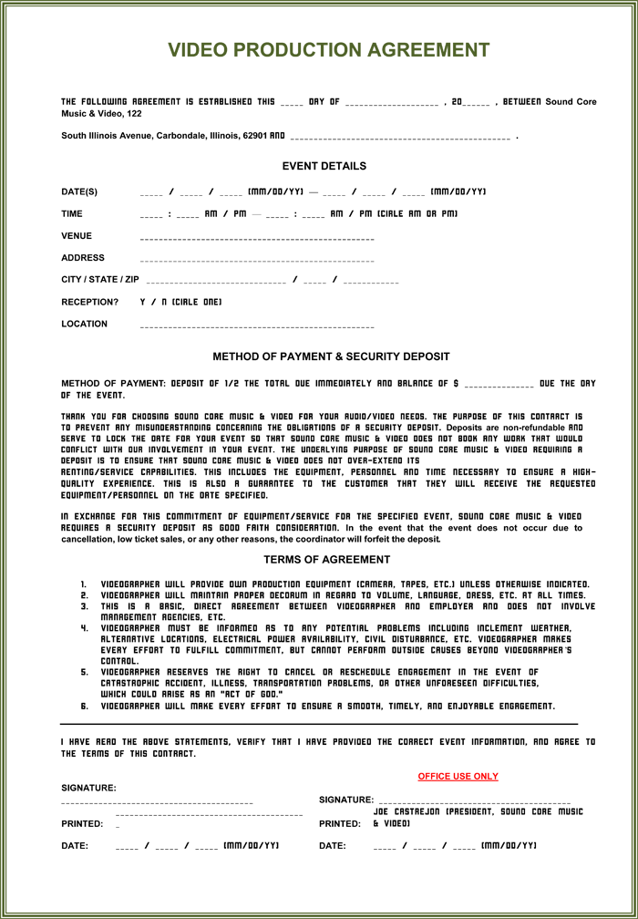 video production agreement template video production contract 6