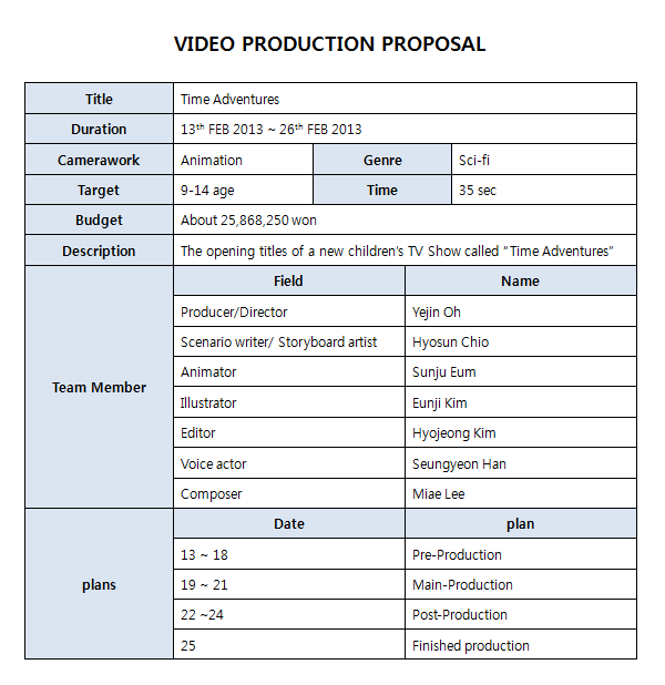 video production proposal template video production proposal