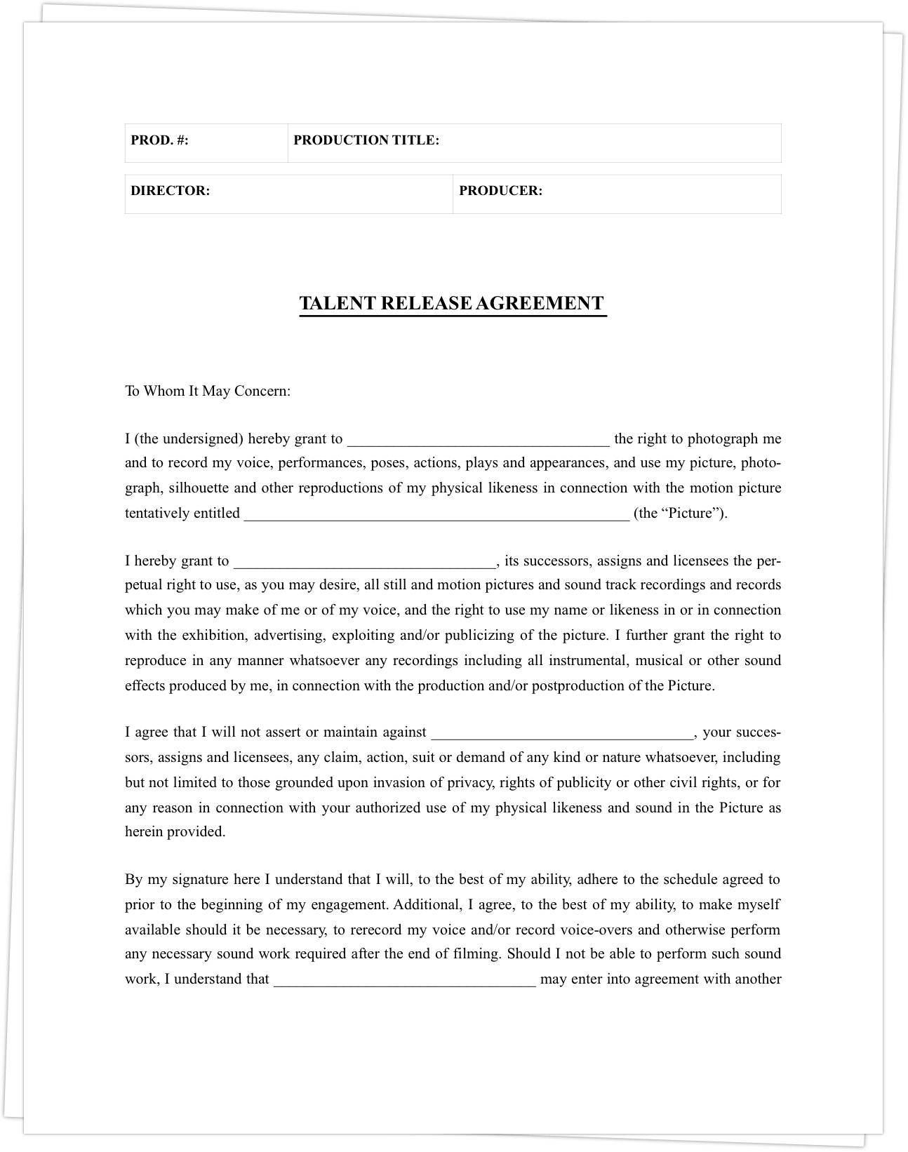appearance release form template film release form template