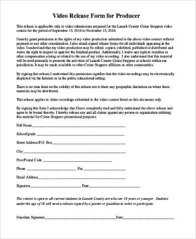 Video Release Form Samples 8+ Free Documents In Word, ...