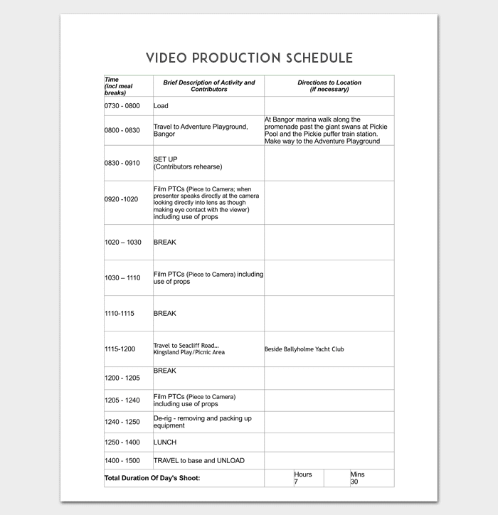 Production Schedule Template   8+ For PDF, Word Doc & Excel