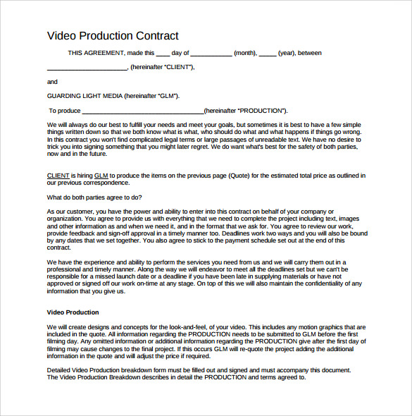 co production agreement template videographer contracts template