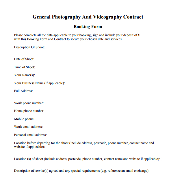 9 Videography Contract Templates to Download for Free | Sample