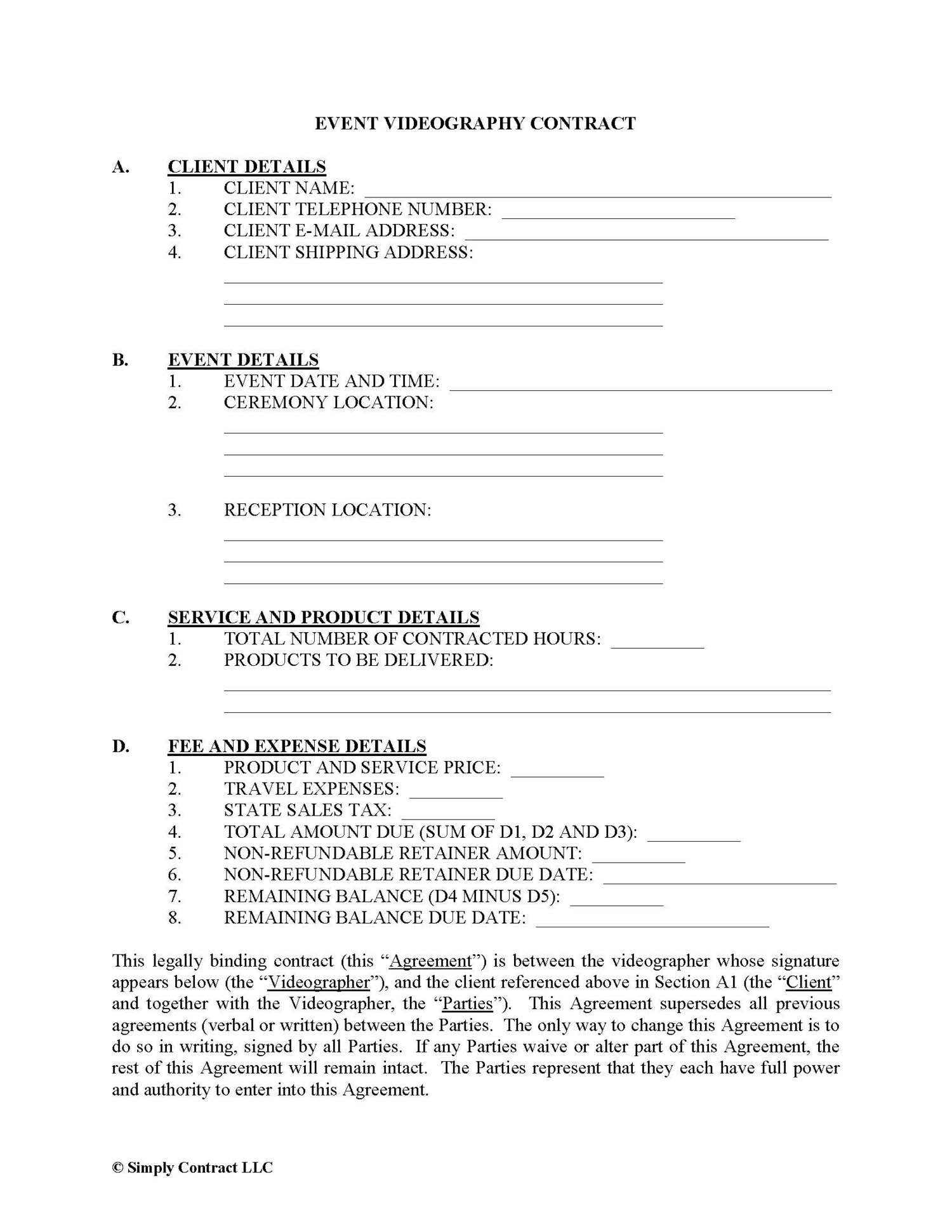 Videography Contract Examples in PDF