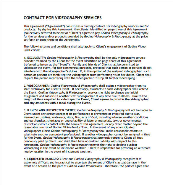 videography contract templates   April.onthemarch.co