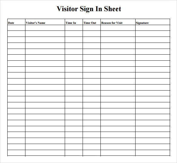 Blank Visitor Sign In Sheet Gallery Of Art Visitor Log Template