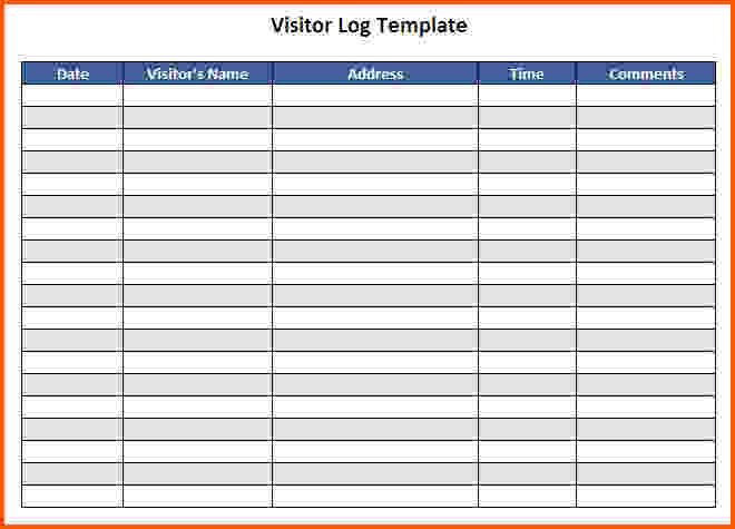 Visitor Log Template Charlotte Clergy Coalition