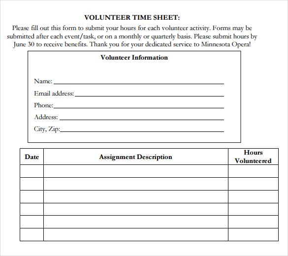 volunteer hours form template 18 volunteer timesheet templates