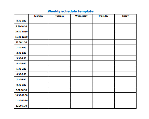 downloadable weekly schedule template   Gecce.tackletarts.co