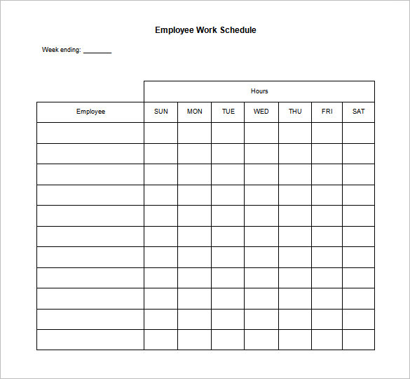 blank weekly work schedule   Gecce.tackletarts.co