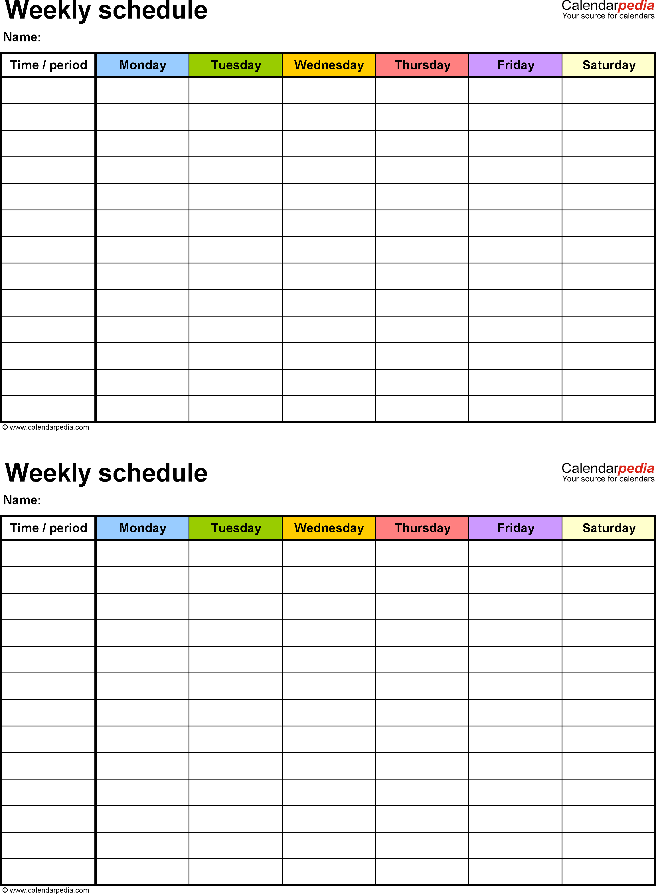 Schedule PDF files ideal for Printing