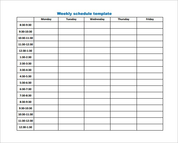 Weekly Work Schedule Template Pdf Charlotte Clergy Coalition