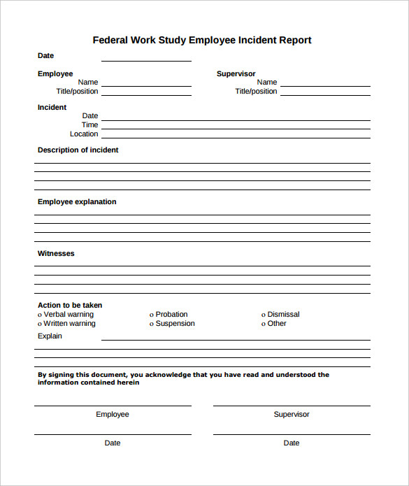 work incident report template word   Gecce.tackletarts.co