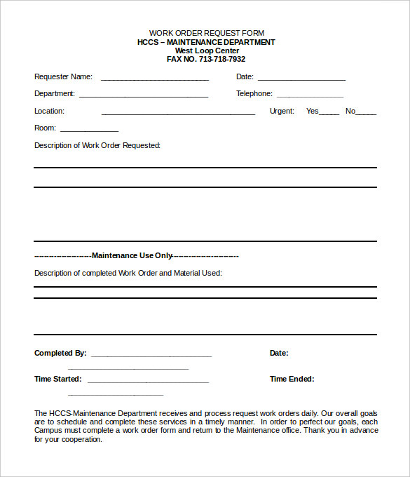 Work Order Forms Templates | charlotte clergy coalition
