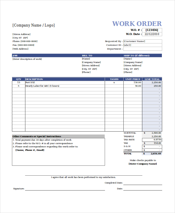 work order template free charlotte clergy coalition