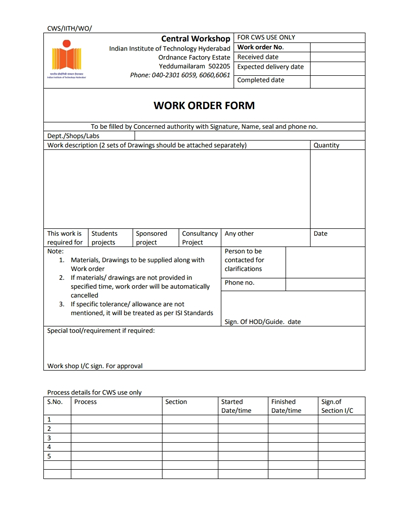 Work Order Template: Free Download, Create, Edit, Fill and Print
