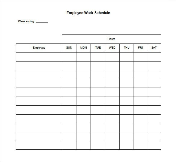weekly work schedule template   Gecce.tackletarts.co