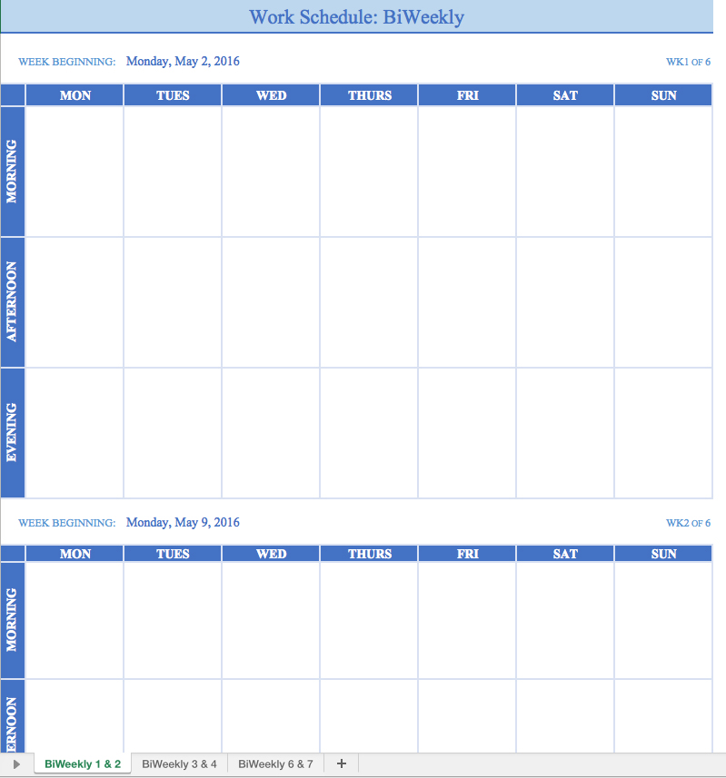 Work Schedules Template Charlotte Clergy Coalition