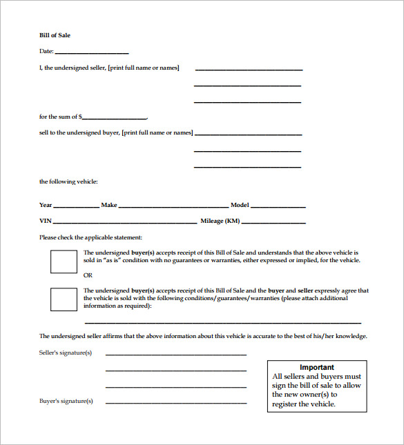 Colorado Vehicle Bill Of Sale: Bill Of Sale Receipt Template