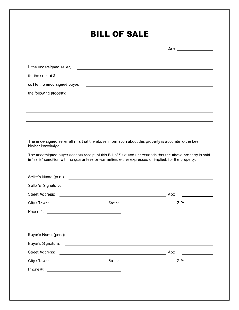 Free Printable Blank Bill of Sale Form Template   as is bill of
