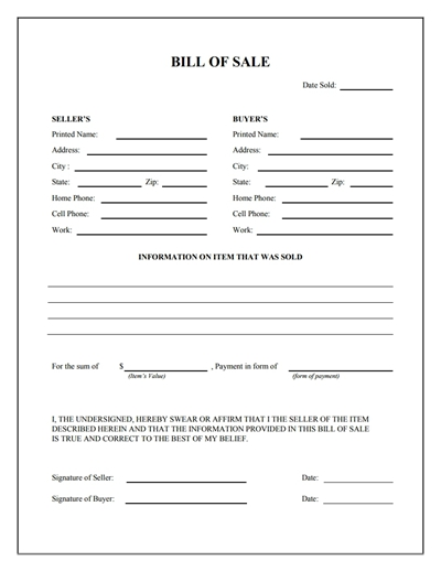 General Bill of Sale Form: Free Download, Create, Edit, Fill